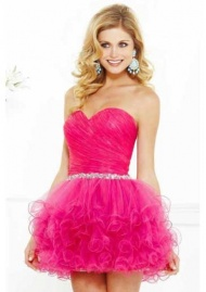 Ball Gown Sweetheart Organza Burgundy Cocktail Dresses/Short Prom Dress With Beading supplied by VioletDress at GBP79.99 are the best choice for you