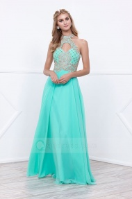 A-line Floor-length High Neck Keyhole Back Beaded Chiffon Prom Dress