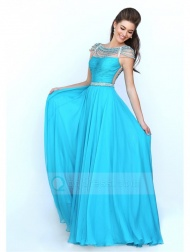 A-line Princess Bateau Floor-length Chiffon Pleated Prom Dress With Beaded