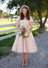 A-line Short Sleeves Scoop Lace Tea-Length Bridesmaid Dress